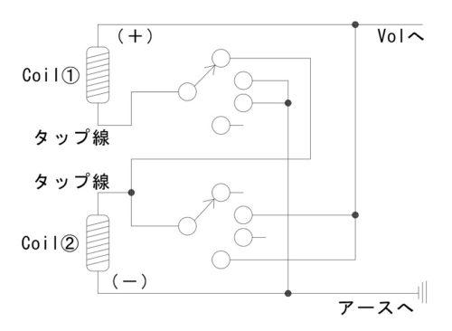 ハムバッカーコイルタップ回路図